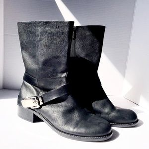 Vince Camuto Wikket Black Buckle Leather Boots
